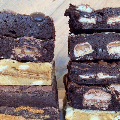range of brownie and blondie flavours