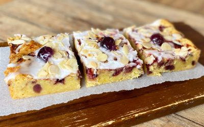 cherry Bakewell Blondie part of Father's Day Brownie Gift Box