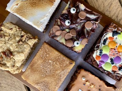 all six flavours in Halloween Brownie Gift Box